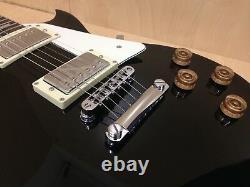 4/4 Haze SEG-277BK Solid Body Electric Guitar Gloss Black + Gig Bag + Strings