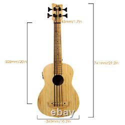 AKLOT Bass Ukulele Electric Ubass Solid Bamboo +Strap Bag Humidifier Muisc Lover