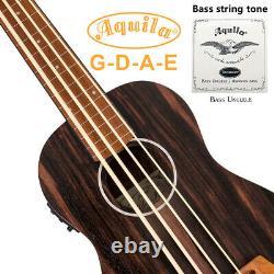 Aklot Bass Ukulele Lined Fretless Ubass Aquila String EADG Blackwood Accessories