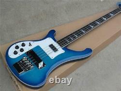 Blue Body 4-string Electric Bass Guitar Left-handed white Pickguard chrome Hardw