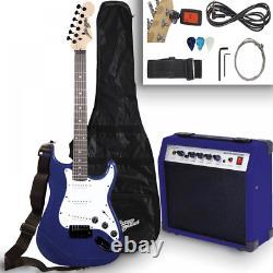 Blue Electric Guitar Set Kit Amplifier Tuner Gigbag Strap Strings Pick Full Size