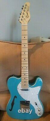 Blue T-Style Electric Guitar, Maple fretboard 6 string semi-hollow Tele Guitar
