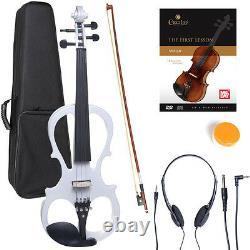 Cecilio 4/4 Ebony Electric Violin Silent White Style-1