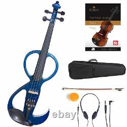 Cecilio Size 4/4 Electric Violin Ebony Fitted Blue Style3