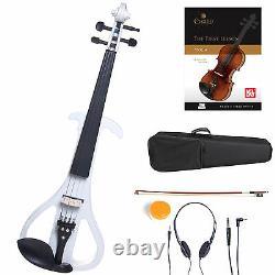 Cecilio Size 4/4 Electric Violin Ebony Fitted White Style4