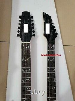 Custom 12+6 Strings Purple body Double Neck Electric Guitar with Black hardwares