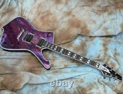 Custom 6 String Mirror Cracks Kiss Paul Stanley Electric Guitar purple New