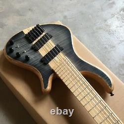 Custom 6 Strings Electric Bass Guitar Neck Thru Body Flamed Maple Natural wood