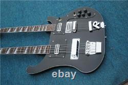 Custom Double Neck Black Ricken Bass 4+6 string Electric Bass guitar Free Ship