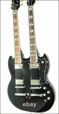 Custom Made Electric Guitar, Classic Black Mahogany 12 & 6 String Double Neck