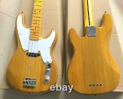 Custom Made, Precision ST, Natural Ash, Electric Bass Guitar 4 Strings