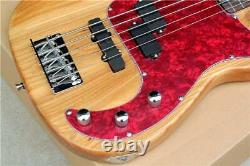 Custom Natural Wood Color 5-string Electric Bass Guitar with Red Pearl Pickguard