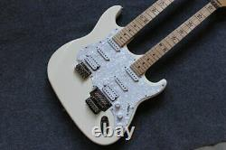 Custom electric guitar 6/6 strings double neck white guitar customization New