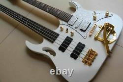 Double Neck Electric Guitar 4 String Electric Bass+6 String electric Guita White