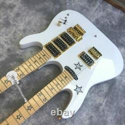 Double neck Electric Guitar 6/6 string white body star fingerboard vibrato New