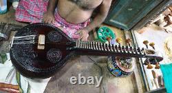 Ekandam Acoustic Saraswati Veena Full Jackwood Dark Walnut Finish + Electric