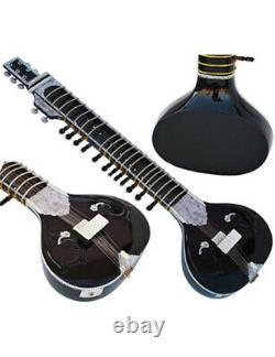 Flat Sitarblackdesigner Tun Woodravi Shankar Stylewith Cig Bag, String, Mizrab