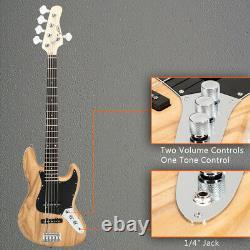 Glarry Gjazz Electric 5 String Bass Guitar Natural Finish