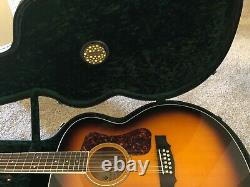Guild F-2512E Deluxe! 2 String Acoustic Electric Sunburst Guitar With Case