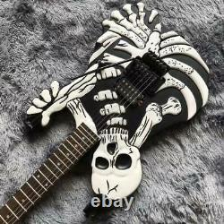 Guitar Black Skull Bones Carved Body Guitar Electric 6 String Electric Guitar