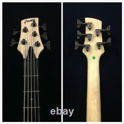 Haze 5-String Electric Bass Guitar, 4/4, B-337N, Pre-Amp, Natural Matt+Free Gig Bag