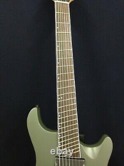 Haze-7FF MGS Fanned-Fret, 7-String Electric Guitar, Satin Military Green+Free Bag