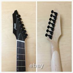 Haze 7Q TRD Fanned-Fret 7-String Electric Guitar, Trans. Tiger Red +Free Gig Bag