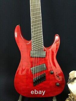 Haze 7Q Tiger Cherry Red Fanned-Fret 7-String Electric Guitar+Free Gig Big, Strap
