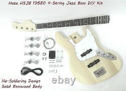 Haze HSJB 19580 No-Soldering 4-String Electric Bass Guitar DIY Kit +Tuner, Picks