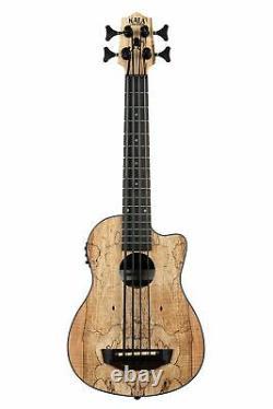 Kala U-BASS Spalted Maple Cutaway Acoustic Electric Bass Ukulele with Bag