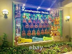Kamehameha Ukulele KT-21 Green Tenor Solid Top Mahogany Gloss withelectric pickup