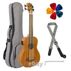 Kmise Electric Bass Ukulele UBass Mahogany 30 inch EADG With Gig Bag Strap