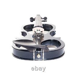 NEW 4/4 Ebony Electric Violin withPickup -Black & Style1