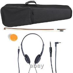 NEW 4/4 Ebony Electric Violin withPickup -Black & Style2