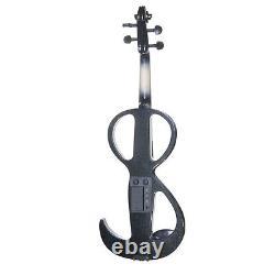 NEW 4/4 Ebony Electric Violin withPickup -Black & Style3