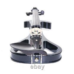 NEW 4/4 Ebony Electric Violin withPickup -Black & Style4
