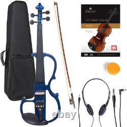 NEW 4/4 Ebony Electric Violin withPickup -Blue & Style-2