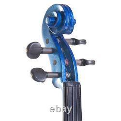 NEW 4/4 Ebony Electric Violin withPickup -Blue & Style-3