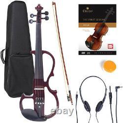NEW 4/4 Ebony Electric Violin withPickup-Mahogany, Style-2
