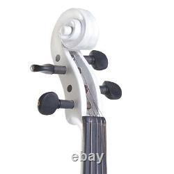 NEW 4/4 Ebony Electric Violin withPickup-White, Style-2