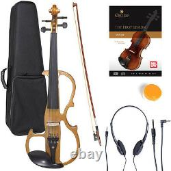 NEW 4/4 Ebony Electric Violin withPickup-Yellow, Style-2