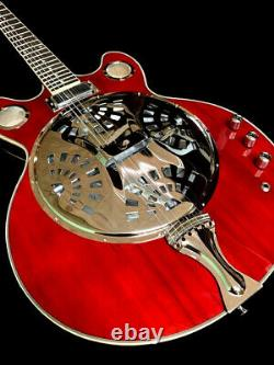 NEW 6 STRING SLIDE ACOUSTIC/ELECTRIC RESONATOR GUITAR With CONE SPIDER DUAL PICKUP