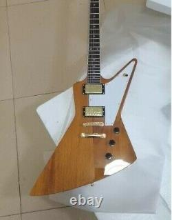 NEW Custom Explorer 76 Natural Wood Electric Guitar 6 String New Free shipping