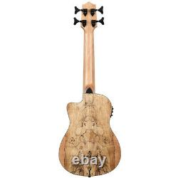 NEW Kala U-BASS Spalted Maple Cutaway Acoustic Electric Bass Ukulele with Bag