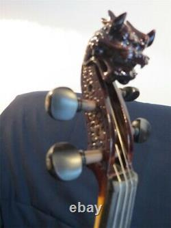 NEW model crazy -1 SONG carved dragon head 4/4 electric violin, solid wood#12055