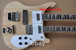 Natural Wood Color Double Neck Electric Bass and Guitar, 4+12 Strings, Chrome Hard