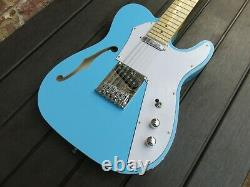 New 12 String Daphne Blue Semi-hollow Tele Style Electric Guitar