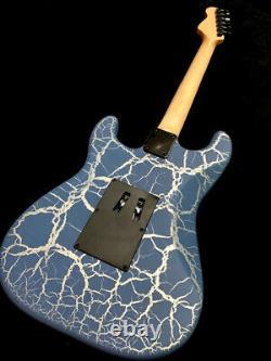 New 6 String Super Strat Blue Krackle Finish Floyd Rose Style Electric Guitar