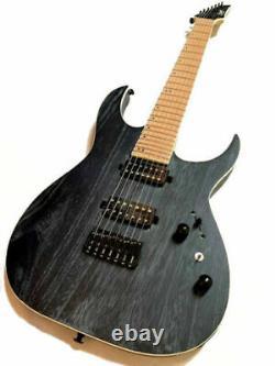 New Custom 7 String Black Wood Grain Finish Electric Guitar-amazing Tone