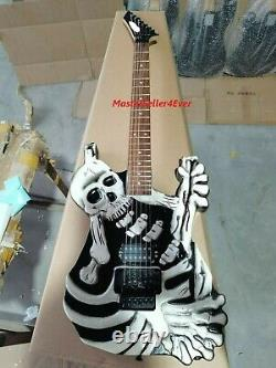New George Lynch's Guitar Black Skull Bones Carved Body Guitar Electric 6 String